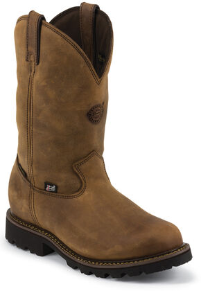Justin Original Workboots Stag Gaucho Waterproof Insulated Pull-On Work Boots - Composite Toe, Gaucho, hi-res
