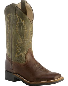 Old West Children's Stiched Olive Cowboy Boots - Square Toe, Barnwood, hi-res