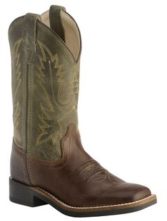 Old West Youth Boys' Stitched Olive Cowboy Boots - Square Toe, , hi-res
