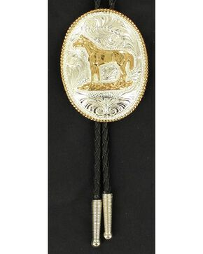 Engraved Gold-tone Horse Bolo Tie, Multi, hi-res