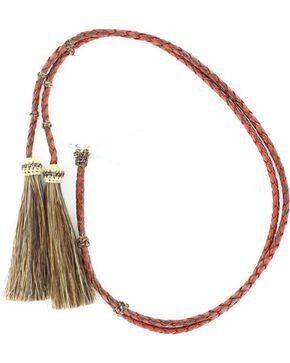 Red & Brown Braided Leather with Horsehair Tassels Stampede String, Tan, hi-res