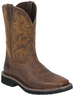 Justin Tan Tail Stampede Pull-On Work Boots - Square Toe, Tan, hi-res
