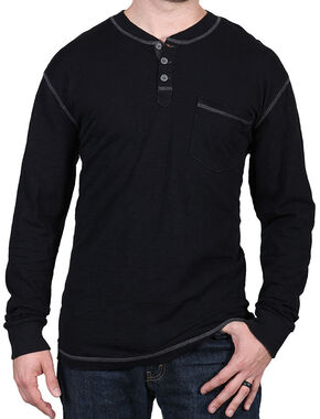 Moonshine Spirit Men's Black Solid Long Sleeve Henley , Black, hi-res