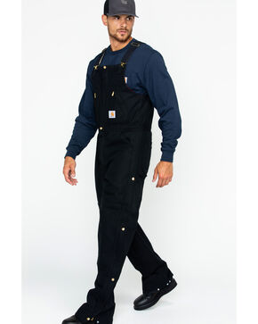 "Carhartt Zip-to-Waist Bib Overall - Reg, Big. Up to 50"" Waist, Black, hi-res"