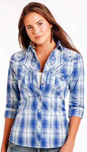 Panhandle Slim Women's Blue Erie Ombre Plaid Long Sleeve Shirt , Blue, hi-res