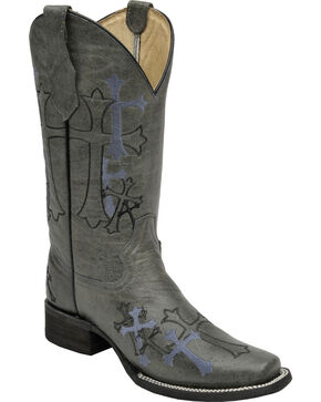 Circle G Women's Embroidered Crosses Cowgirl Boots - Square Toe, Grey, hi-res