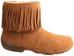"""Twisted X Women's 6"""" Suede Fringe Driving Moc Boots - Round Toe , , hi-res"""
