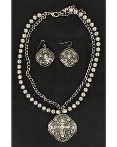 Blazin Roxx Fancy Pendant w/ Rhinestone Cross Necklace & Earrings Set, , hi-res