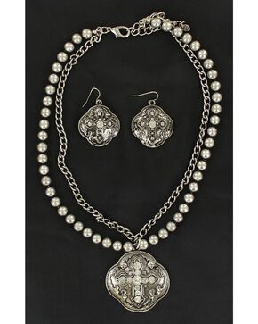 Blazin Roxx Fancy Pendant w/ Rhinestone Cross Necklace & Earrings Set, Silver, hi-res