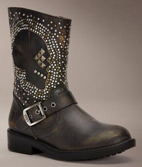 Frye Kids' Jenna Skull Short Boots, Black, hi-res
