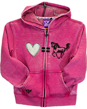 Cowgirl Hardware Toddler Girls' Pink Love Equals Horses Full Zip Hoodie, Pink, hi-res