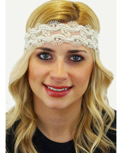 Pink Pewter Ivory Laced Beaded Tessa Stretch Headband, , hi-res