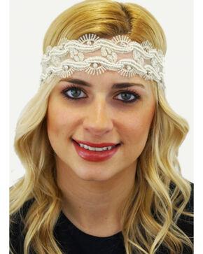 Pink Pewter Ivory Laced Beaded Tessa Stretch Headband, Ivory, hi-res