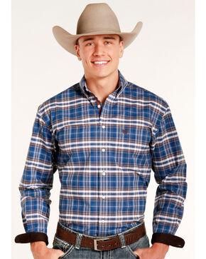 Rough Stock by Panhandle Men's Pemberton Ombre Plaid Shirt, Navy, hi-res