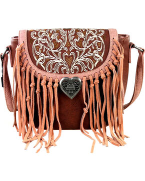 Montana West Fringe Handbag with Love Shape Turn Lock, Brown, hi-res