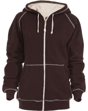Berne Women's Zip-Front Hooded Sweatshirt - 3XL and 4XL, Dark Brown, hi-res