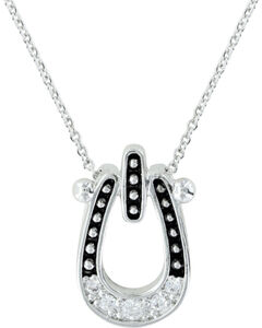Montana Silversmiths Studded Ice Horseshoe Necklace, , hi-res