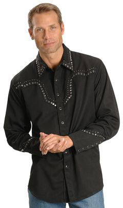 Scully Studded Black Retro Western Shirt, , hi-res