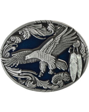 Flying Eagle Belt Buckle, Pewter, hi-res