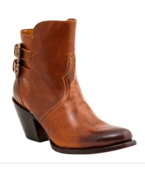 Lucchese Women's Catalina Western Booties - Round Toe, Cognac, hi-res