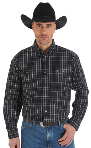 Wrangler George Strait Men's Poplin Plaid Button Shirt - Big & Tall, Black, hi-res