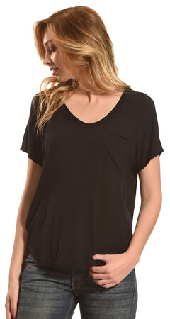 Derek Heart Women's Extended Cap Sleeve Hi Low Shirt - Black, , hi-res