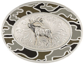 Montana Silversmiths Silver-Tone Winter Camo with Elk Belt Buckle, Silver, hi-res