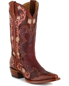 Shyanne Women's Embroidered Floral Western Boots - Snip Toe, Brown, hi-res