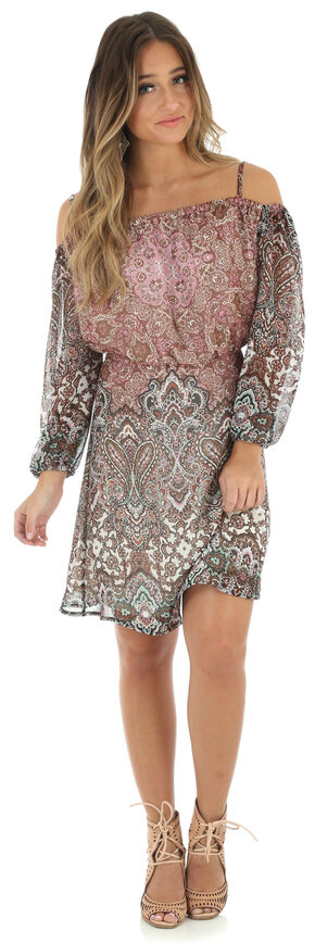 Wrangler Women's Multi Cold Shoulder Dress, Multi, hi-res