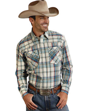 Roper Men's Amarillo Collection Green Plaid Western Shirt, Green, hi-res