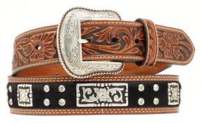 Nocona Hair-on-Hide Fancy Concho & Rhinestone Belt, Black, hi-res