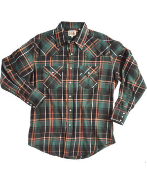 Ely Cattleman Men's Green Western Flannel Shirt , Green, hi-res