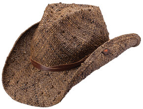 Peter Grimm Jareth Raffia Straw Cowboy Hat, Dark Brown, hi-res