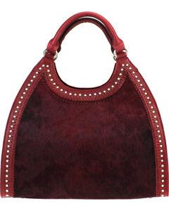 Montana West Delila Handbag 100% Genuine Leather Hair-On Hide Collection in Burgundy, , hi-res