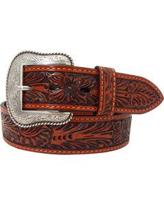 Roper Men's Tan Hand-Tooled Floral Design Belt with Silver Buckle , , hi-res