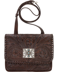 American West Brown Grand Prairie Crossbody Flap Bag , , hi-res