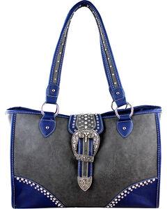 Montana West Buckle Grey Dual Side Concealed Handgun Handbag, , hi-res