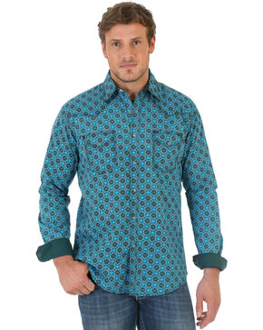 Wrangler Men's 20X Teal and Black Poplin Print Western Shirt , Teal, hi-res