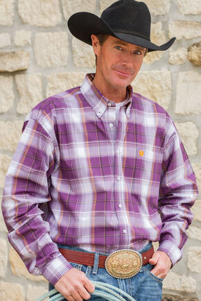 Cinch Men's Purple Single Pocket Long Sleeve Plaid Shirt - Big and Tall, Purple, hi-res