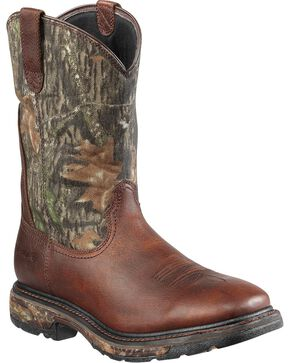 Ariat Workhog Mossy Oak Camo Waterproof Work Boots - Steel Toe, Brown, hi-res