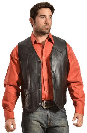Liberty Wear Men's Leather Western Vest - Big, Black, hi-res