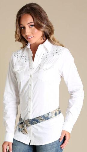 Wrangler Rock 47® Women's White Rhinestone Embroidered Shirt, White, hi-res