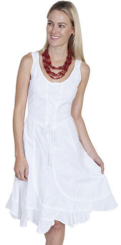 Scully Sleeveless Peruvian Cotton Dress, White, hi-res