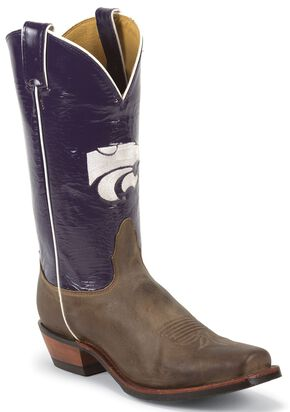 Nocona Men's Kansas State University College Cowboy Boots - Square Boots, Tan, hi-res