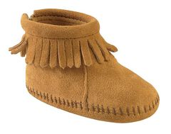 Minnetonka Infant Girls' Suede with Fringe Velcro Back Flap Bootie, , hi-res