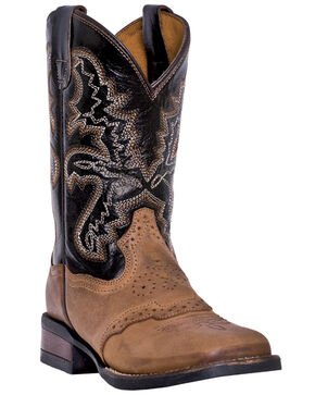 Dan Post Youth Boys' Franklin Cowboy Boots - Square Toe, Tan, hi-res