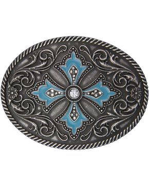 Montana Silversmiths Rock 47 Turquoise Maltese Cross Belt Buckle, Silver, hi-res