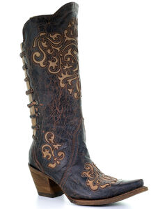 Corral Women's Inlay and Straps Cowgirl Boots - Snip Toe, , hi-res