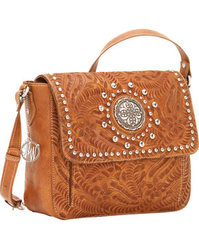 American West Women's Love Me Tender Crossbody Flap-Top Bag, Tan, hi-res