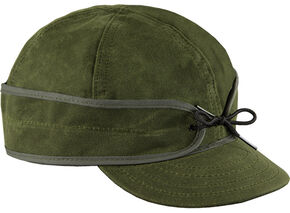 Stormy Kromer Men's Olive Waxed Cotton Cap, Olive, hi-res